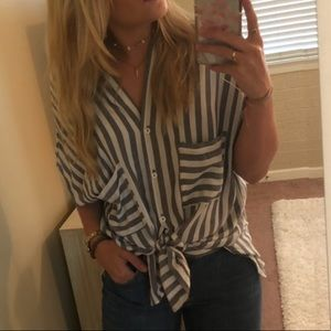Blue/gray and white striped button down blouse OS